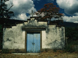 Rustic Rural Church in Central Venezuela Welcomes with a Blue Door