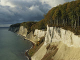 White Chalk Cliffs Along the Shoreline