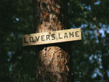 Sign on a Tree Marks Lovers Lane