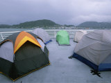 Tents Pitched by Campers on the Deck of a Ferry