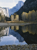 Half Dome Mountain is Reflected in the Merced River
