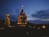 View of the La Parroquia Church at Twilight