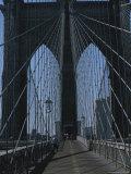 Lattice-Like Cables Rise Above Pedestrians on the Brooklyn Bridge