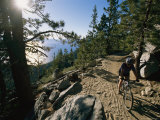 Bicyclist Enjoys the Flume Trail Overlooking Lake Tahoe