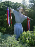 Colonial-Style Scarecrow Guards a Williamsburg Garden