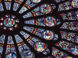 View of the Famed Rose Window in Notre Dame Cathedral  France