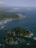 Aerial View of Washington's Coastline with Sea Stacks