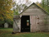 Barn with an Open Door on Waveland Farm