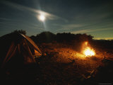 Full Moon Rises Above a Campfire in the Sespe Wilderness Area