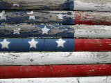 Weathered But Patriotic Detail of an Old Roadside Fence