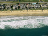 Aerial View of Beachfront Homes and Sand Fences For Erosion Control