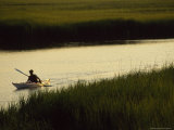 Man Kayaking the Marshes Around the Georgia Sea Islands