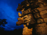 Monster Stares Out the Corner of Temple in Copan