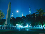 Night View of the Blue Mosque and 1500 Bc Egyptian Obelisk From Luxor