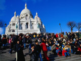 People Outside La Basilique Du Sacre Coeur De Montmartre