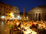 Outdoor Dining at Night  Piazza Della Rotonda  Pantheon in Background