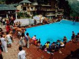 Overhead of Crowded Swimming Pool  Bhagsu