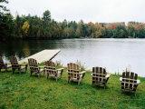 Adirondack Chairs in Row by Lake  Northeast Kingdom