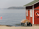 Rescue Hut with Boat  Lifebelt on Pihlajasaari Island