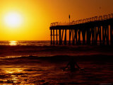 Sunset at Beach  Hermosa Beach  with Jetty in Background