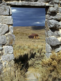 1880's Deserted Home Through Stone Warehouse Door Frame  Bodie State Historic Park