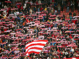 Crowd of Fans Raise Scarves in Support of Red Star  One of Sebia's Premier Soccer Teams