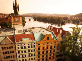 Overlooking the River Vltava and Buildings  Roofs and Towers of the Old Town