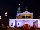 Church at the Top of Cerro De Monserrate  Decorated with Christmas Lights