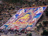Pilgrims Attending Annual Celebration of Hanging of Huge Thangka  Drepung Monastery