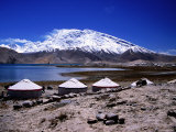 Yurts Beside Kara Kul Lake with Snow-Capped Muztagh Ata Mountain in Background