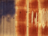 Rusted Corrugated Iron Wall in Late Afternoon Sun