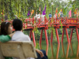 Huc Bridge on Hoan Kiem Lake
