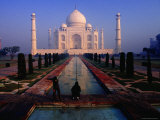 Groundsman Cleaning Watercourse at Taj Mahal
