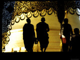 Silhouette of Monks Walking Towards Pagoda for Morning Prayers  Shwe Dagon Pagoda