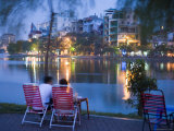 People Relaxing Beside Truc Bach Lake  West Lake and Truc Bach District