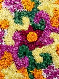 Detail of Floral Decoration Called Pookkallam at Entrance to Shop to Celebrate Onam Festival