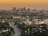 Los Angeles Downtown as Seen from Hollywood Bowl Overlook  at Dusk
