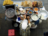 Overhead of Vendor at Street Food Stall