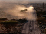 Dust Cloud Following a Car Travelling Down a Gravel Road  Wadi Surmayni  Shuwayhah