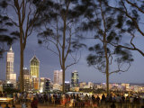 People in Kings Park Watching Fireworks on Australia Day with Perth Skyline in Background
