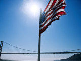 American Flag Flying with the Golden Gate Bridge in Background