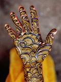 Henna Artwork on a Woman&#39;S Hand in Main Bazaar  Parharganj
