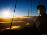 Facial Detail of Hot-Air Balloon Pilot as Sun Rises During Take Off