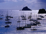 Yachts and Les Gros Islets Silhouetted Against the Caribbean Sea