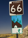 Route 66 Sign on Highway Near Peach Springs