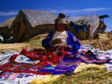 Traditionally Dressed Woman Knitting on Isla Flotantes