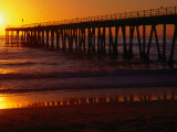 Golden Sun Sets over the Water and Pier at Hermosa Beach