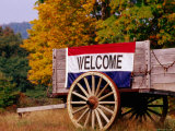 Welcome Sign on Wagon in Rural New England