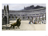 Christian Martyrs Facing Hungry Lions in the Colisseum  Ancient Rome