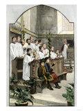 Choir Singing a Christmas Hymn in an Anglican Church  1880s